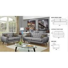 tufted gray sofa esofastore retro collection gray sofa loveseat polyfiber tufted