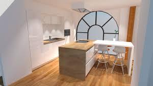 plan de travail stratifié cuisine cuisine blanc brillant avec îlot plan de travail bois