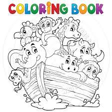 cartoon coloring book noah u0027s ark theme by clairev toon vectors