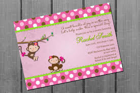 monkey invitations baby shower pink monkey baby shower invitation by cuddlebuginvitations
