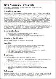 Resume Core Qualifications Examples by Cnc Programmer Cv Sample Myperfectcv