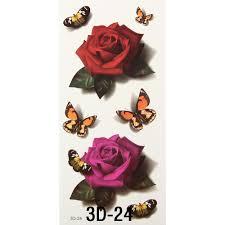 halloween makeup stickers aliexpress com buy 3pcs women 3d temporary tattoos flower rose