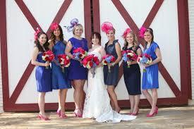 wedding dresses derby mismatched blue dresses pink fascinators and heels gorgeous