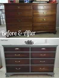 old dresser makeover with gray paint dark walnut stain and new