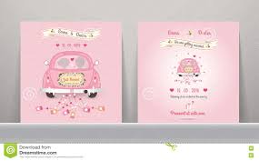 just married cards just married car wedding invitation card stock vector image