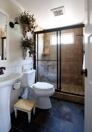 the shower grounds this earthy bathroom remodel traditional