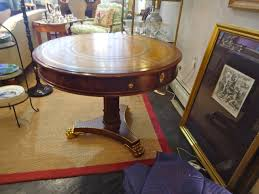 Traditional Wooden Center Table Traditional Round Mahogany And Tooled Leather Center Hall Table At
