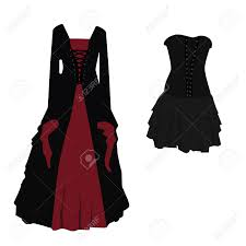 halloween costume black and red gothic dress for witch raster