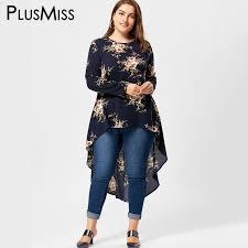 plus size blouse plusmiss plus size 5xl floral print high low hem blouse shirt