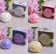 20pcs white yellow pink purple wedding giveaways flower soap savon