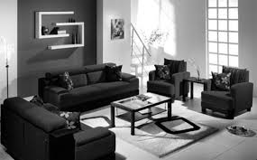 black leather living room black white living room wall with white wooden shelf combined by