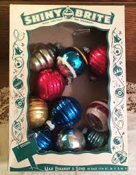 vintage mid century shiny brite glass ornaments with box