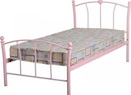 Single Girls Bed by Caitlin Girls Bed Frame Metal Pink Finish High Foot End