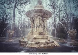hercules monument ornamental fountains palace aranjuez stock