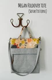 pattern for tote bag with zipper megan foldover tote pdf sewing pattern instant download