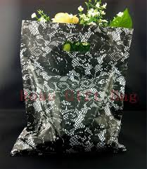 25x35cm black pattern plastic gift bag shopping bags with