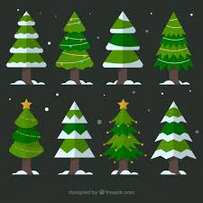christmas tree with snow various christmas trees with snow vector free