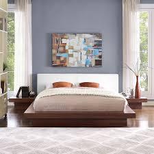 White 3 Piece Bedroom Set Freja 3 Piece Queen Vinyl Bedroom Set Walnut White By Modway