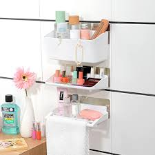 Hanging Bathroom Shelves Large Capacity Trace Stickers Bathroom Shelves Three Sets