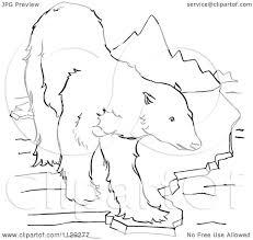 cartoon clipart of an outlined polar bear on an ice ledge near