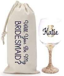 will you be my bridesmaid will you be my bridesmaid glitter wine glass wine bag set