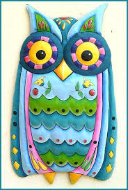 hanging owl ornaments best decorative ideas handcrafted metal wall