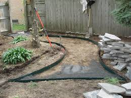 Flagstone Walkway Design Ideas by Grassless Backyard Landscaping Ideas Create Your Own Private