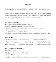 sample resume for laborer construction laborer cover letter sample