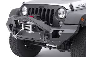 jeep light bar bumper go rhino front bumper with full end caps and trailline light mount