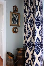 White Curtains With Blue Trim Ikat Curtains Navy White Living Room The Key Trim