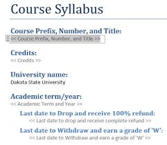 syllabus template dakota state university madison sd