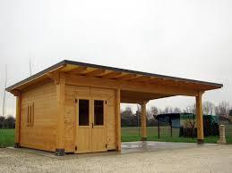 tettoia legno auto carport di legno con box modelo classic cb02310