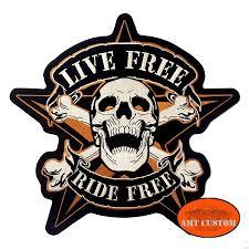star skull ride free patch biker jacket vest amt custom shop