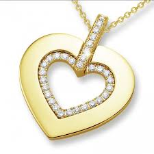 golden pendant necklace images 0 36 carat heart shaped yellow golden pendant with small round jpg