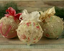 shabby chic baubles lace ornaments fabric