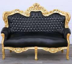 canapé style baroque canape royal style baroque en bois hetre dore noir sofa rococo