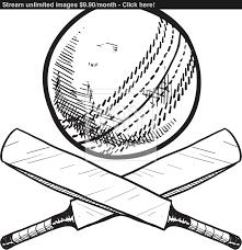 cricket bat and ball sketch vector yayimages com