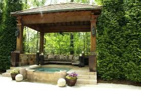 Backyard Pavilion Plans Ideas Outdoor Spa Gazebo Creativealternatives Co Image On Extraordinary