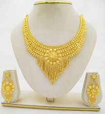 new gold set pretty flower gold plated necklace earring set