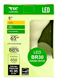 650 lumen br30 led warm light bulb