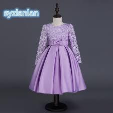 popular purple kids dress for girls long sleeves buy cheap purple
