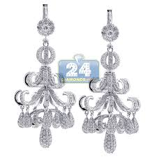 Chandelier Earings Pave Chandelier Earrings 18k White Gold 8 68 Ct