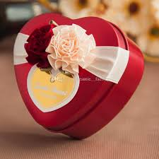 heart chocolate box metal tin heart candy boxes wedding favor baby shower party