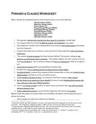 phrases and clauses worksheet 7th 12th grade worksheet lesson