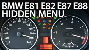 bmw dashboard symbols bmw 1 series hidden menu e81 e82 e87 e88 mr fix info