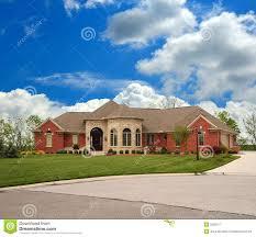 brick suburban ranch home royalty free stock photography image