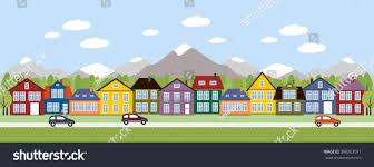 street houses town scene row houses stock vector 398263591