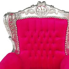 fun kid throne bright pink silver carved wood frame baroque