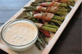 Bacon Main Dishes - bacon wrapped asparagus with lemon garlic dip sumptuous living