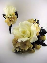 gold boutonniere wedding prom black gold flower wrist corsage or 2pc